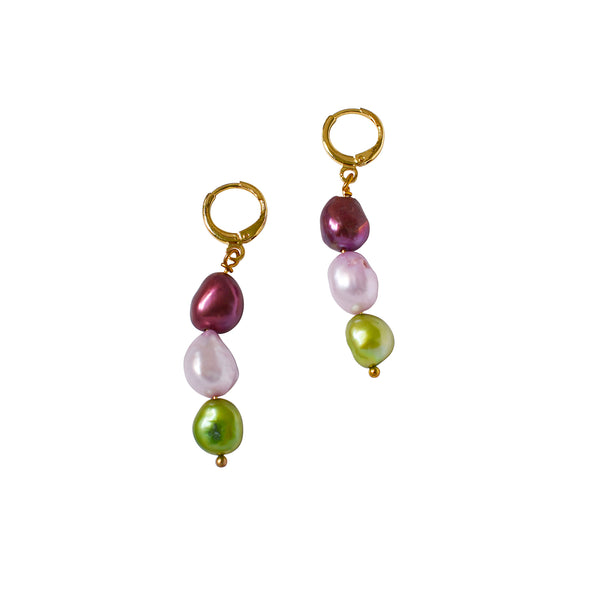 Meta watermelon wine pink light green pearl earrings