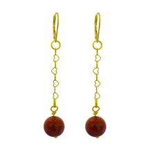 Load image into Gallery viewer, Link + Shine, Brown Goldstone and Yellow Gold vermeil earrings
