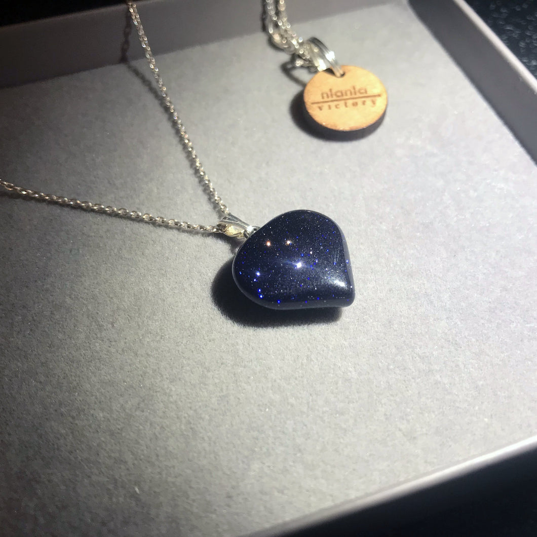 Blue Goldstone Heart Pendant on Sterling Silver Necklace
