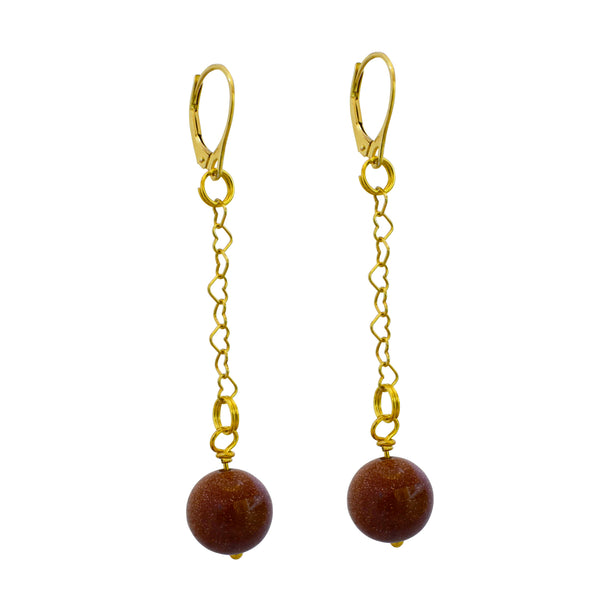Link + Shine, Brown Goldstone and Yellow Gold vermeil earrings