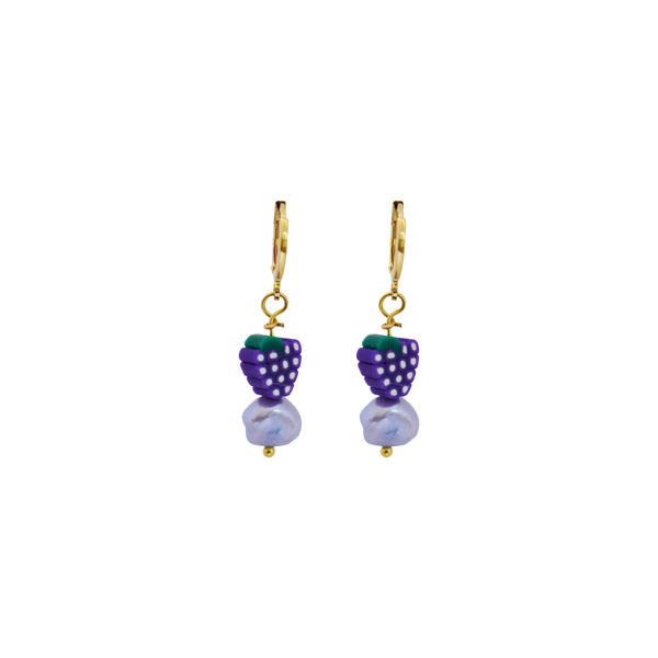 Grapes and Purple freshwater pearl earrings