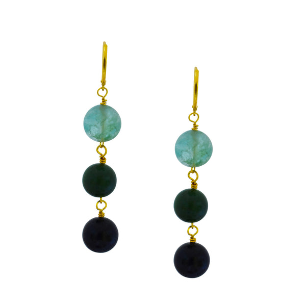 Ewe Green Quartz, Green Agate and Black Onyx Yellow Gold vermeil earrings