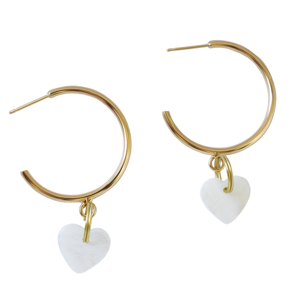 Gold Heart Large Hoop freshwater pearl earrings