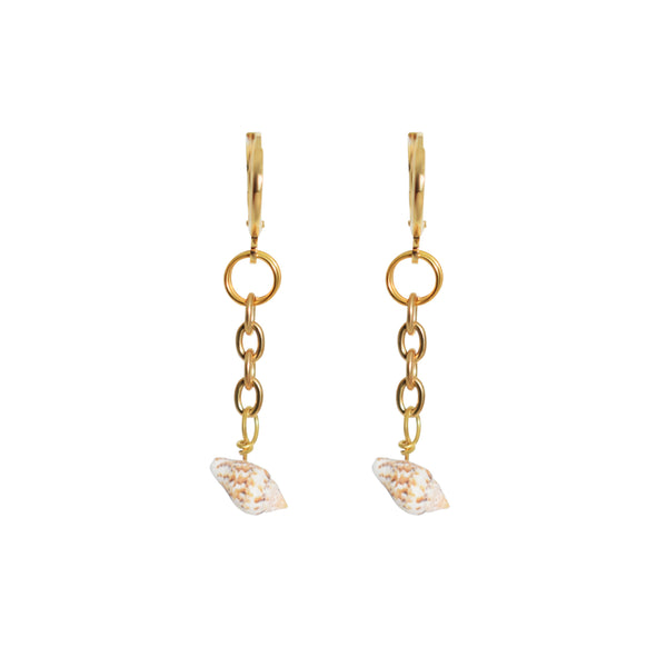 Shell + Chain Drop Loop Earrings