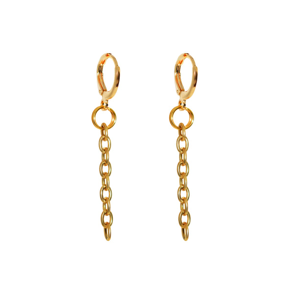 Chain Drop Loop Earrings (long)