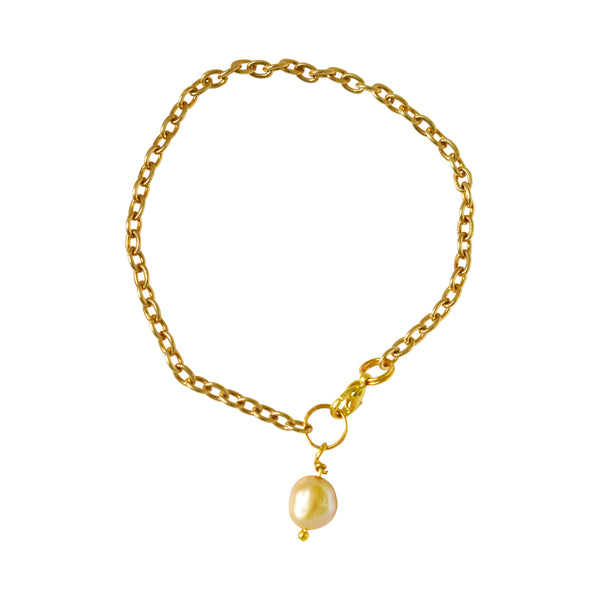 Gold freshwater pearl bracelet and anklet