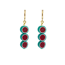 Load image into Gallery viewer, Triple watermelon earrings