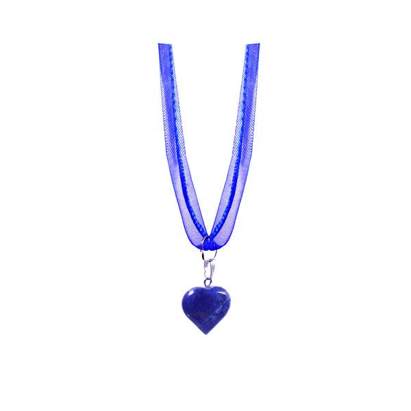 Sodalite necklace with blue ribbon and organza cord