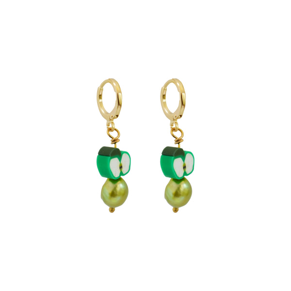 Green apples and green freshwater pearl earrings