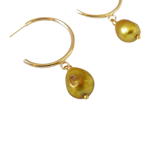 Gold Pearl Large Hoop freshwater pearl earrings