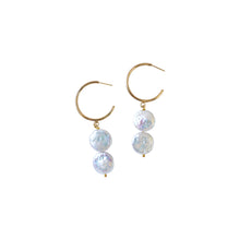 Load image into Gallery viewer, Silver Double Pearl Hoop freshwater pearl earrings