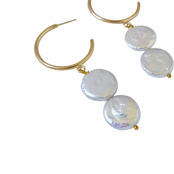 Silver Double Pearl Hoop freshwater pearl earrings