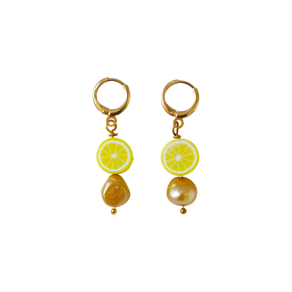 Lemon and Gold freshwater pearl earrings