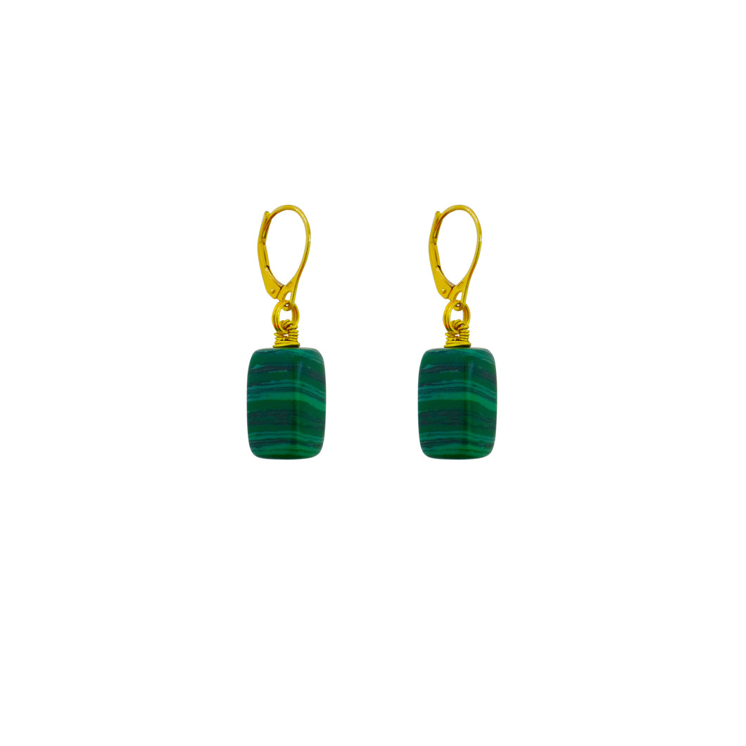 itumo malachite, Malachite and Yellow Gold vermeil earrings
