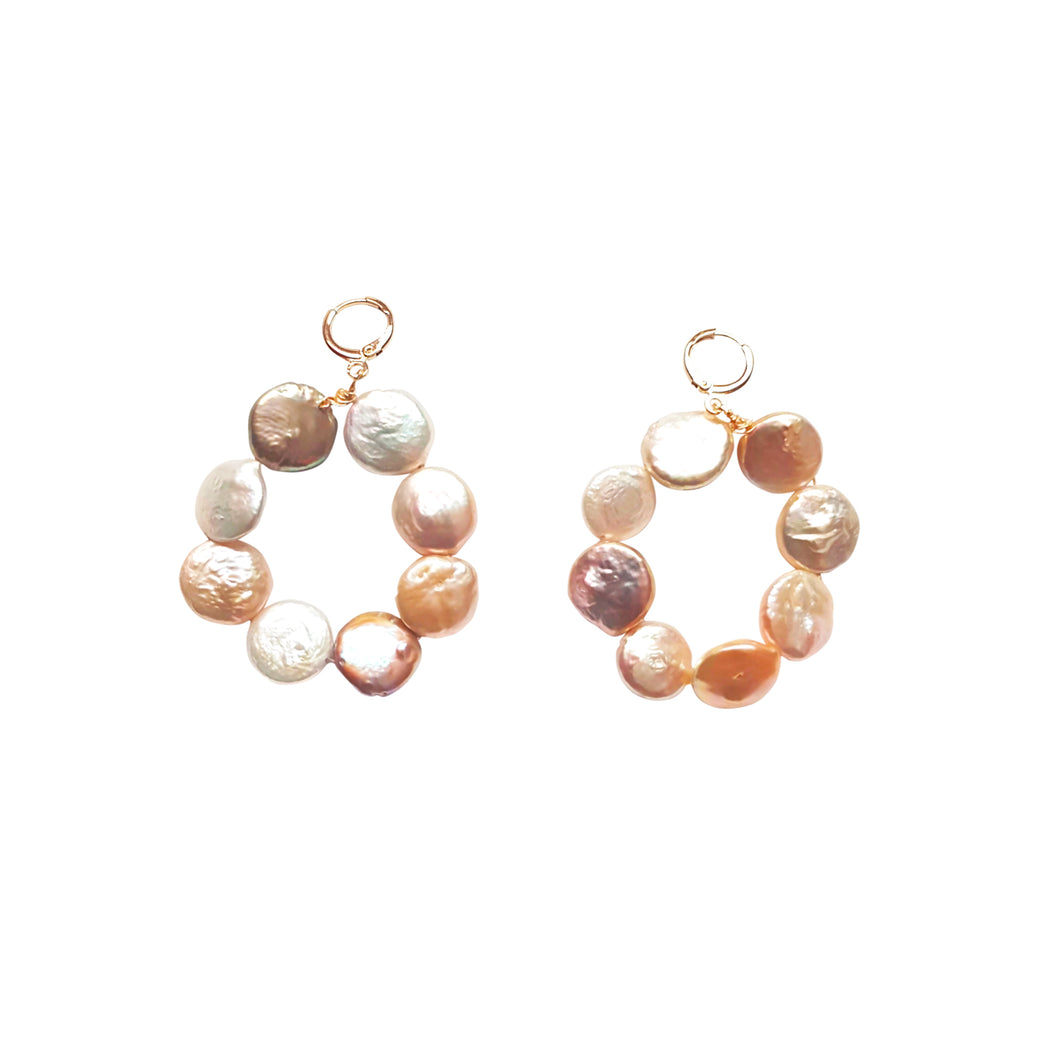Omo Love (Pastels Coin Pearl Hoop) earrings