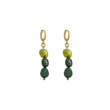 Load image into Gallery viewer, Meta, light and dark greens pearl earrings