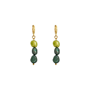 Meta, light and dark greens pearl earrings