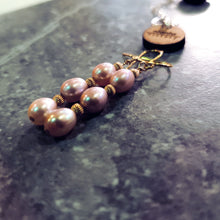 Load image into Gallery viewer, Pink Pearls, Rose Quartz and Yellow 9k Gold earrings