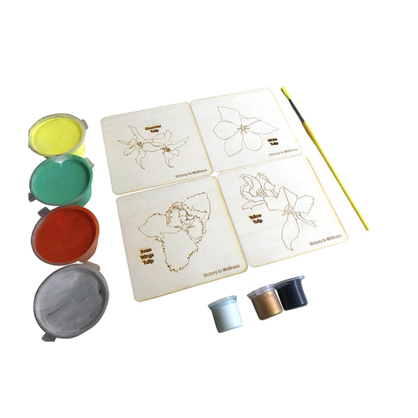 Victory in Wellness kit, Botanical themed adult colouring on smoothed plywood coasters