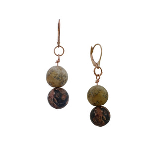 Ayoayo, Picture Jasper and Rhodonite Rose Gold vermeil earrings
