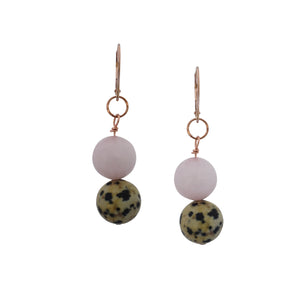 Cheerful, Dalmatian Jasper and Rose Quartz Rose Gold vermeil earrings