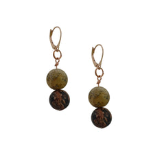 Load image into Gallery viewer, Ayoayo, Picture Jasper and Rhodonite Rose Gold vermeil earrings