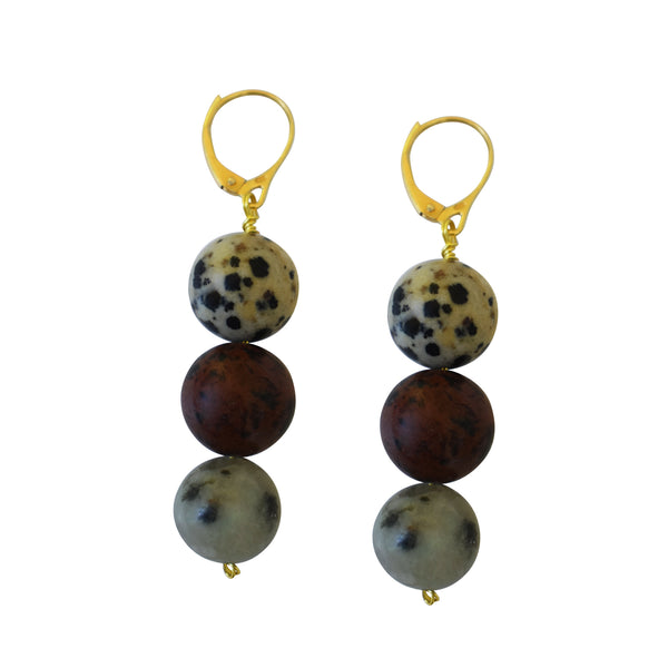 Treble Ayo, Poppy, Dalmatian & Sesame Jasper Yellow Gold vermeil earrings