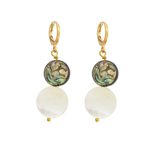 Abalone shell with coin pearls earrings