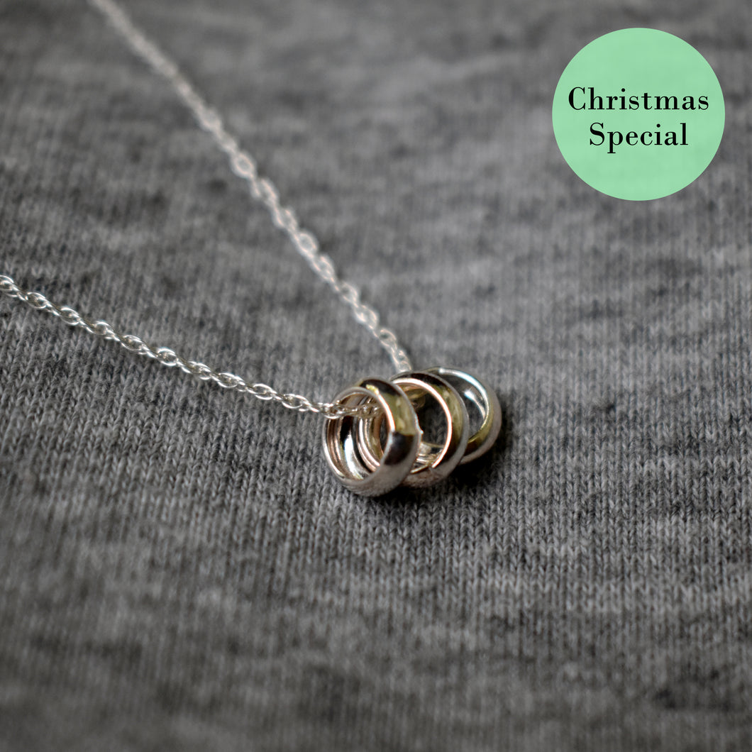 Triple unity sterling silver necklace, Christmas special, .925 sterling silver necklace