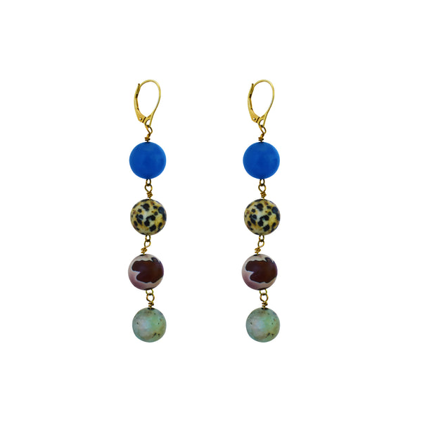 tell me the truth, Blue Aventurine, Dalmatian Jasper, Mookaite and Sesame Jasper Yellow Gold vermeil earrings