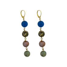Load image into Gallery viewer, tell me the truth, Blue Aventurine, Dalmatian Jasper, Mookaite and Sesame Jasper Yellow Gold vermeil earrings