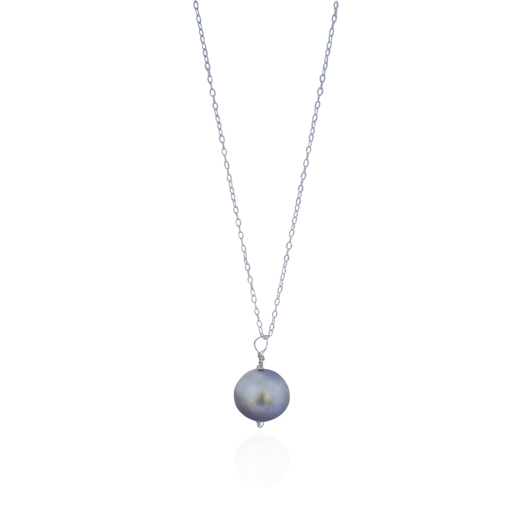 Learned, silver freshwater pearl, .925 sterling silver necklace