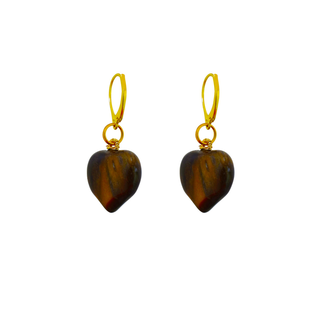 Warmth + Soul, Tiger Eye Yellow Gold vermeil earrings