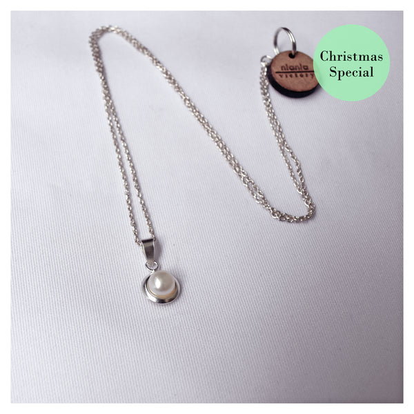 White pearl sterling silver necklace, Christmas special, .925 sterling silver necklace