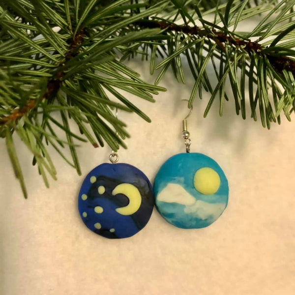 Earrings / Day and Night / Polymer Clay