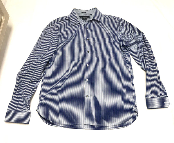 Medium Button-up Collar Shirt Long Sleeve American Eagle Outfitters Blue White Striped Slim Fit