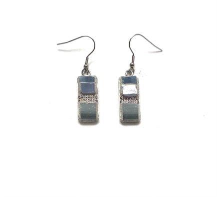 Mosaic Earrings / Surgical Steel / Blue Dots