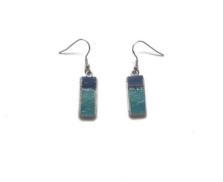 Mosaic Earrings / Surgical Steel / Blue Green Dots