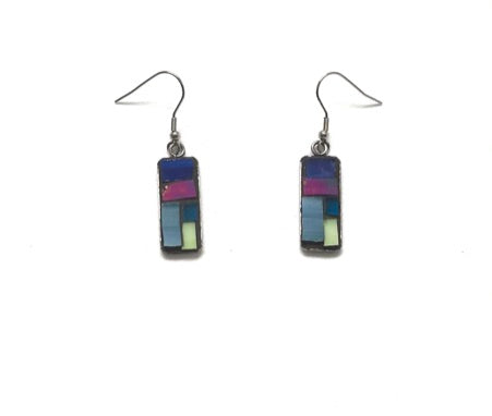Mosaic Earrings / Surgical Steel / Blue Pink Yellow