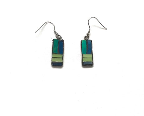 Mosaic Earrings / Surgical Steel /  Green Blue Yellow