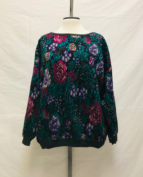 Large / Vintage 80's Sweater / Flowers Metalic Threads Silver Green Purple