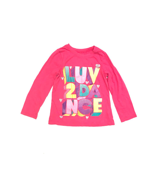 5T 6Y Small / Long Sleeve Shirt / Children's Place / Pink w Luv 2 Dance
