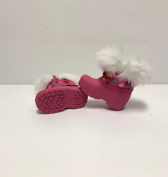 Size 3 Toddler / Winter Boots / Pink w White Faux Fur Polka Dots