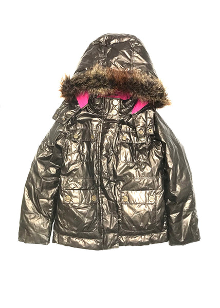 8Y Medium/ Hooded Winter Jacket / Gap Kids / Bronze w Pink Lining Faux Fur