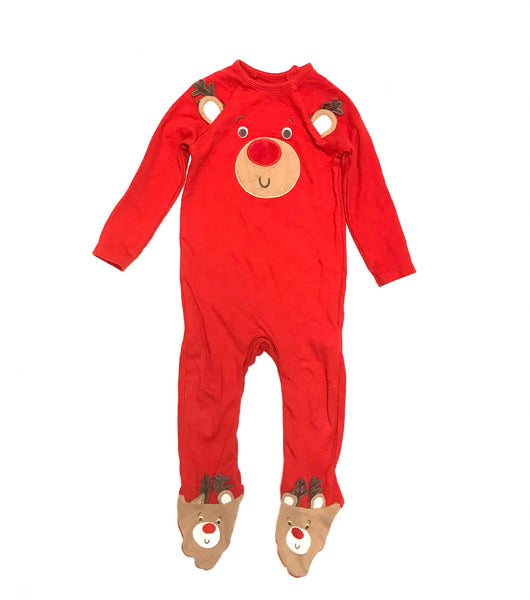 12m 18m / Long Sleeve Footed Sleeper Button-Up / F&F Tesco / Red w Reindeer