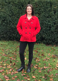 Large / Pea Coat / Old Navy / Red Button-Up