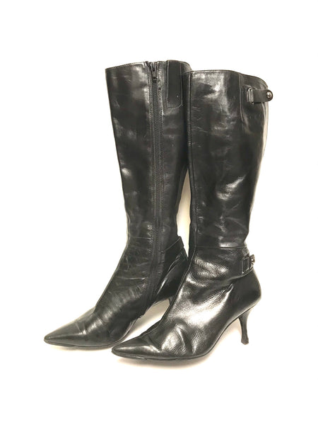 Size 7.5M Adult / Boots / Nine West / Black w Pointy Toe 3 Inch Heel