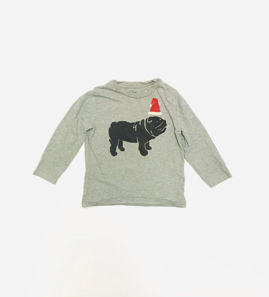 2T / Long Sleeve Shirt / Grey Bulldog w Santa Hat