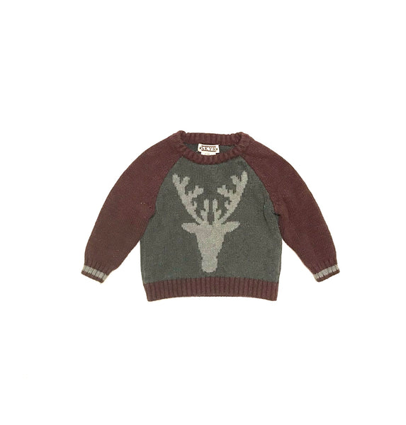 18m / Long Sleeve Sweater / Skyr / Maroon Grey Reindeer