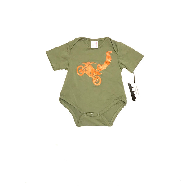 0m 3m 6m / Short Sleeve Onesie / Milkshaxs / Olive Green w Orange Dirt Biker